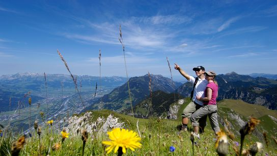 Hiking on the Rappenstein in Liechtenstein close to Lake Constance