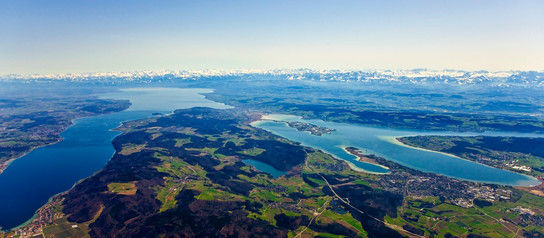 Lake Constance panoramic view of the alps