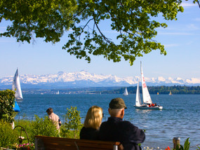 Überlingen at Lake Constance with view of the Alps