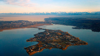 Island Reichenau with a view to the alps