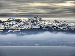Snow on the Säntis in winter at Lake Constance