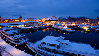 Port of Constance at Lake Constance in winter