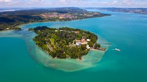 Aerial photograph of Mainau Island at Lake Constance