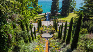 Italian water stairs on Island Mainau at Lake Constance