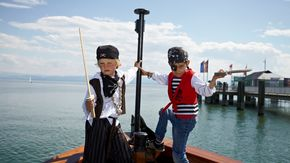 Pirate trip with the merchant vessel on Lake Constance