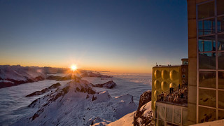 Sunset ont the Säntis close to Lake Constance