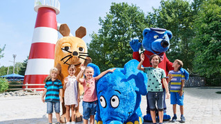 Mascots of Ravensburger Spieleland close to Lake Constance