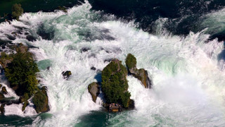 Rhine Falls in Schaffhausen during summer at Lake Constance