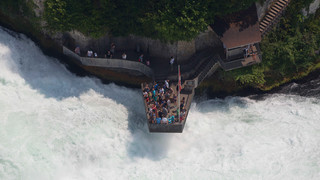 Aerial photograph of the observation deck and the Rhine Falls in Schaffhausen at Lake Constance