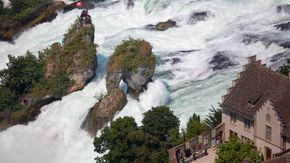 Aerial photograph of the Rhine Falls in Schaffhausen at Lake Constance