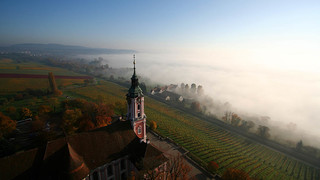 Church Birnau sea of fog at Lake Constance