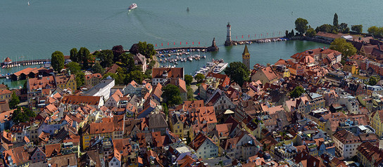 Aerial view of port Lindau at Lake Constance