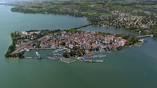 Aerial view of Lindau at Lake Constance