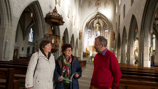 Church visitors at Lake Constance