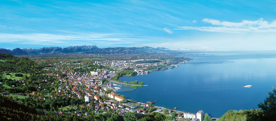 Panoramic view of the bay of Bregenz at Lake Constance