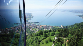Pfänderbahn cable car with view onto Lake Constance