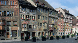 City hall square in Stein am Rhein close to Lake Constance